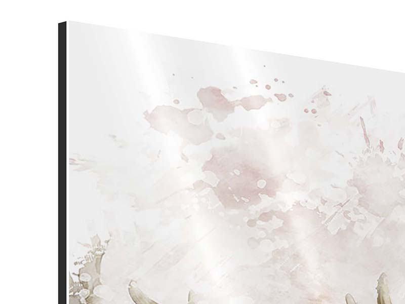 Aluminiumbild 4-teilig Elch-Gemälde