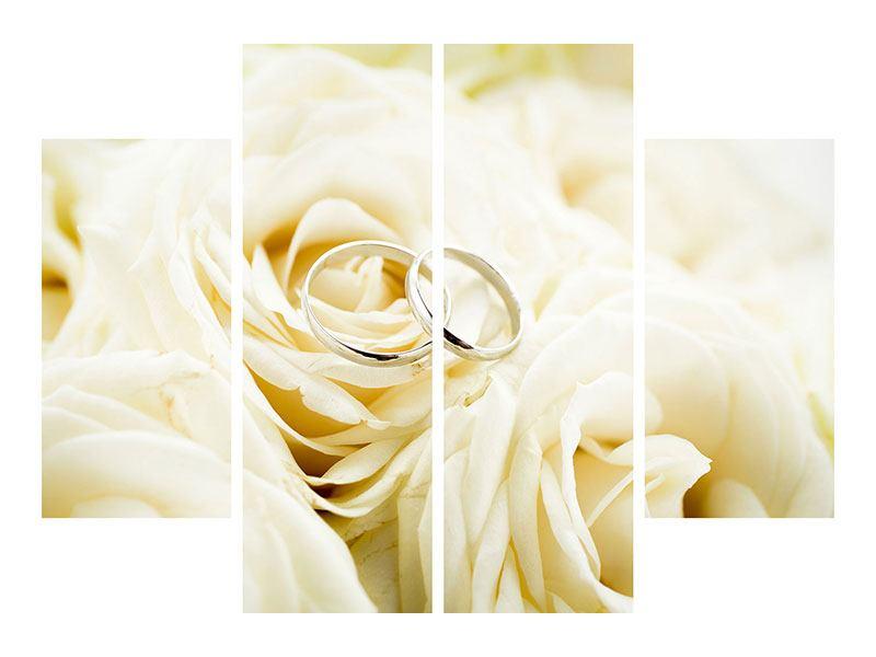 Aluminiumbild 4-teilig Trauringe auf Rosen gebettet