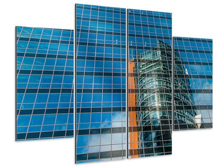 Aluminiumbild 4-teilig Wolkenkratzer-Spiegel