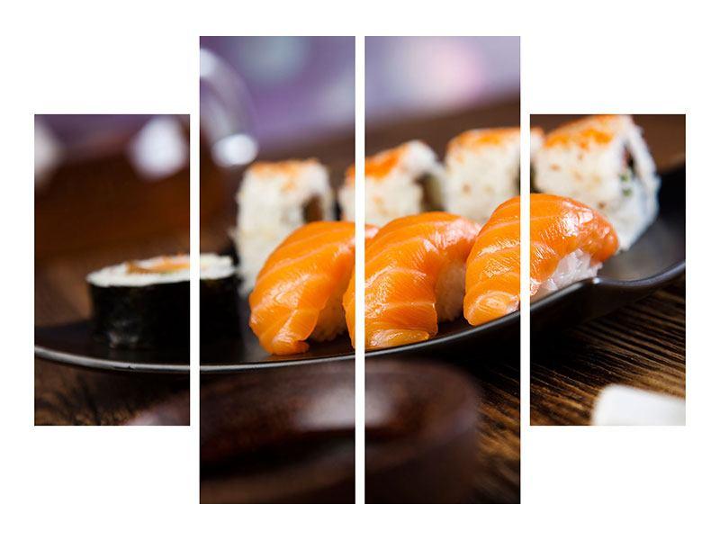 Aluminiumbild 4-teilig Sushi-Gericht