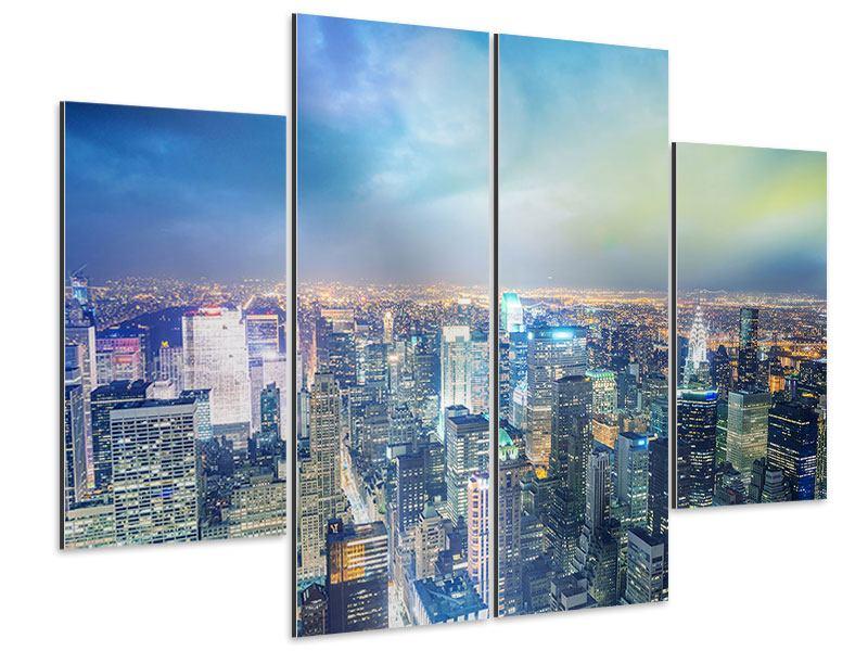 Aluminiumbild 4-teilig Skyline NY bei Sonnenuntergang