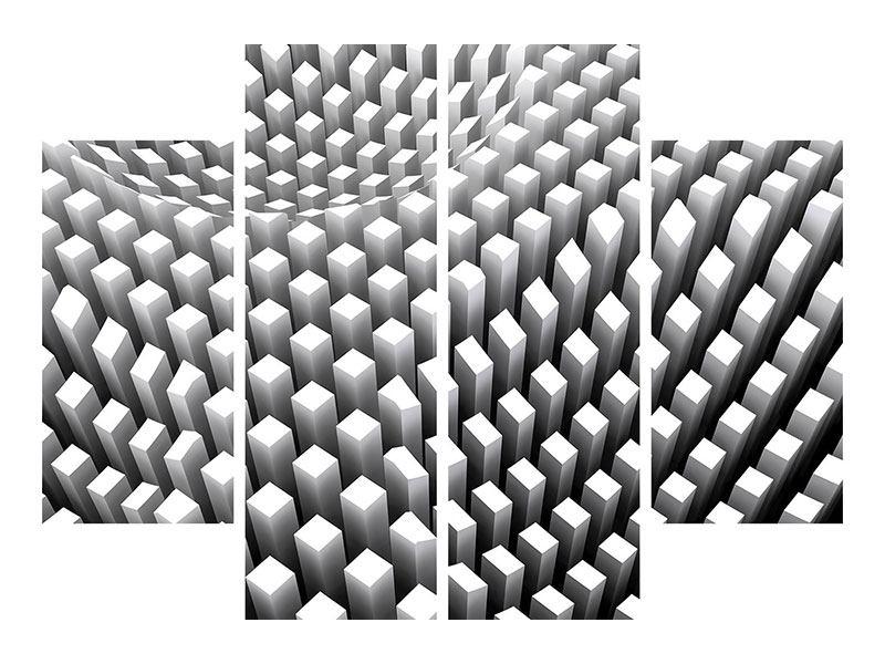 Aluminiumbild 4-teilig 3D-Rasterdesign