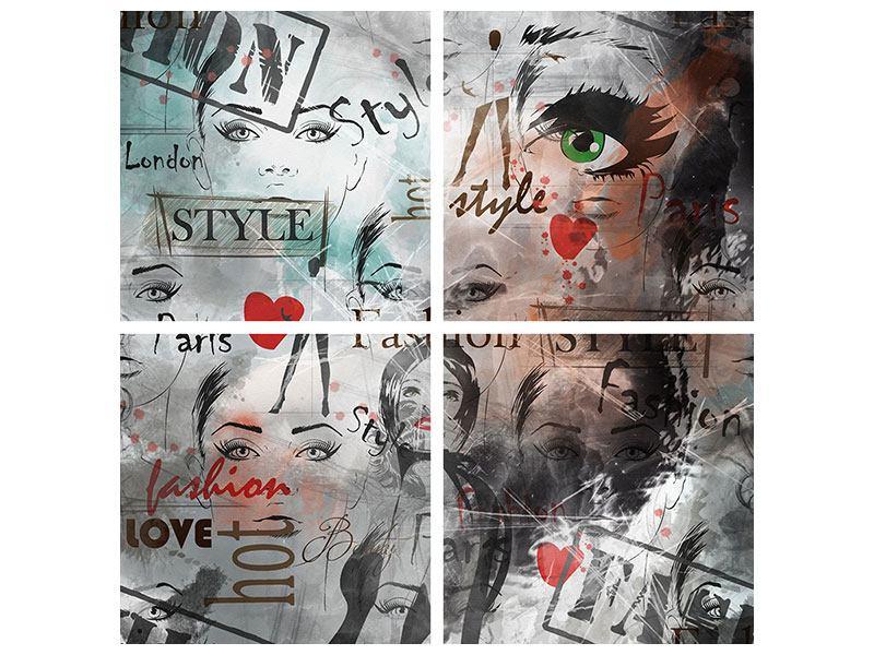 Aluminiumbild 4-teilig I Love Paris