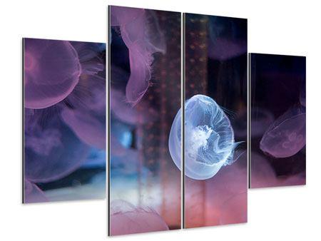 Aluminiumbild 4-teilig Die Schönheit der Quallen