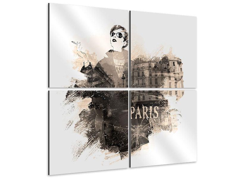 Aluminiumbild 4-teilig Pariser Modell