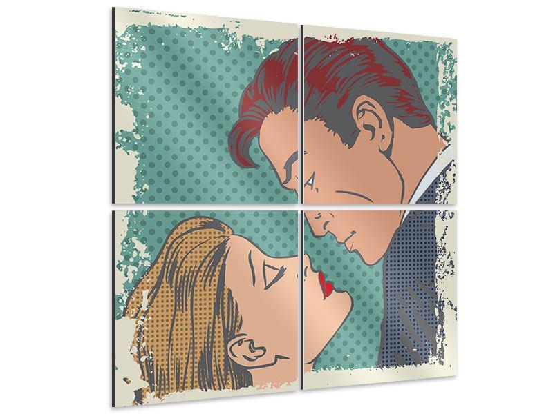 Aluminiumbild 4-teilig Pop Art Liebe