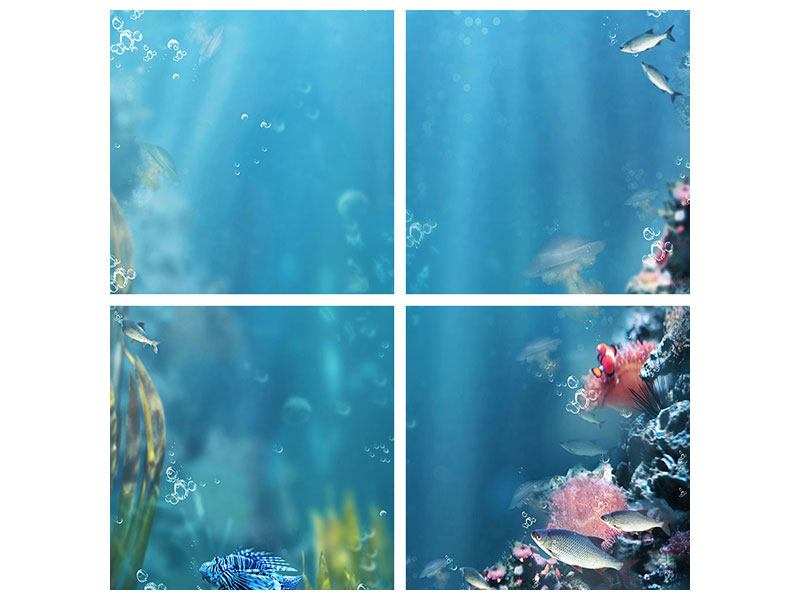 Aluminiumbild 4-teilig Unter Wasser