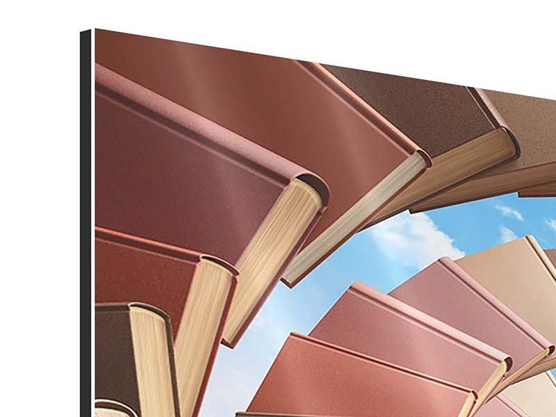 Aluminiumbild 4-teilig Abstrakte Bücher-Wendeltreppe