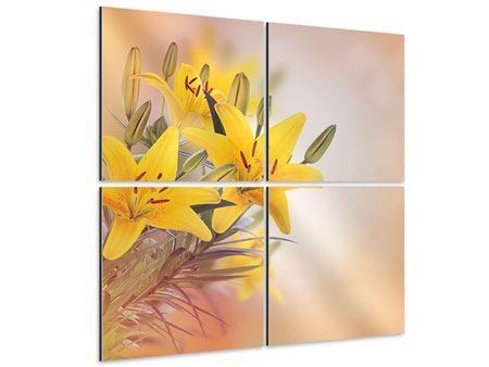 Aluminiumbild 4-teilig Gelbes Lilientrio