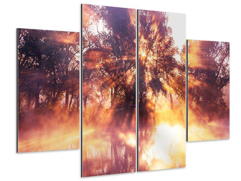 Aluminiumbild 4-teilig Die Waldspiegelung