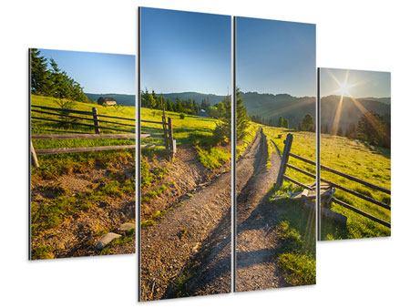 Aluminiumbild 4-teilig Sonnenaufgang am Berg
