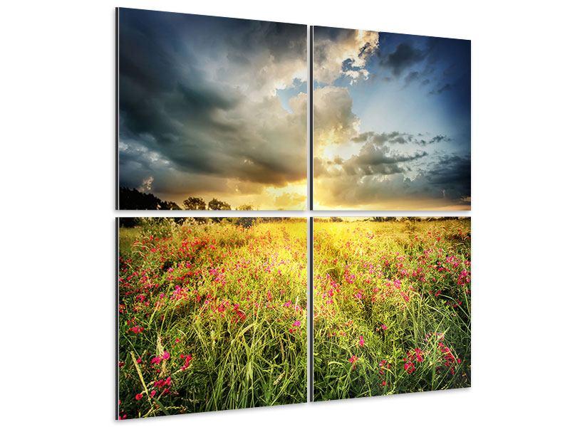 Aluminiumbild 4-teilig Die Blumenlandschaft