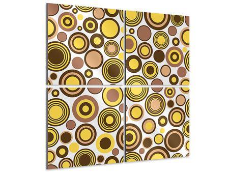 Aluminiumbild 4-teilig Kreise im Retrodesign
