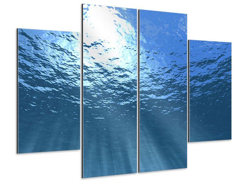 Aluminiumbild 4-teilig Sonnenstrahlen unter Wasser