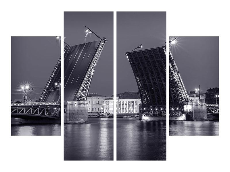 Aluminiumbild 4-teilig Klappbrücke bei Nacht