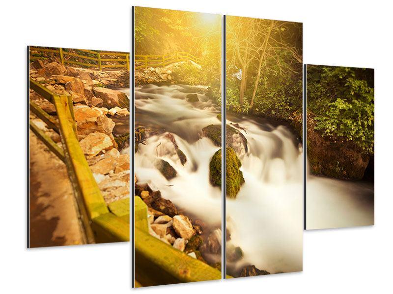 Aluminiumbild 4-teilig Sonnenuntergang am Wasserfall
