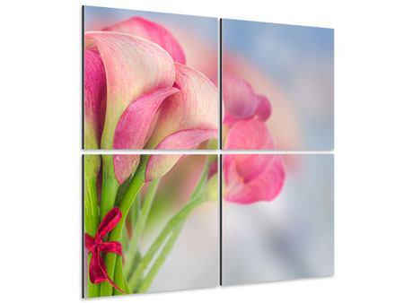 Aluminiumbild 4-teilig Der Lilienstrauss