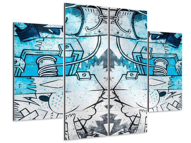Aluminiumbild 4-teilig Graffiti