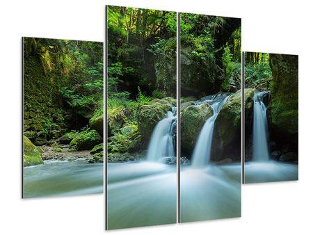 Aluminiumbild 4-teilig Fallendes Wasser