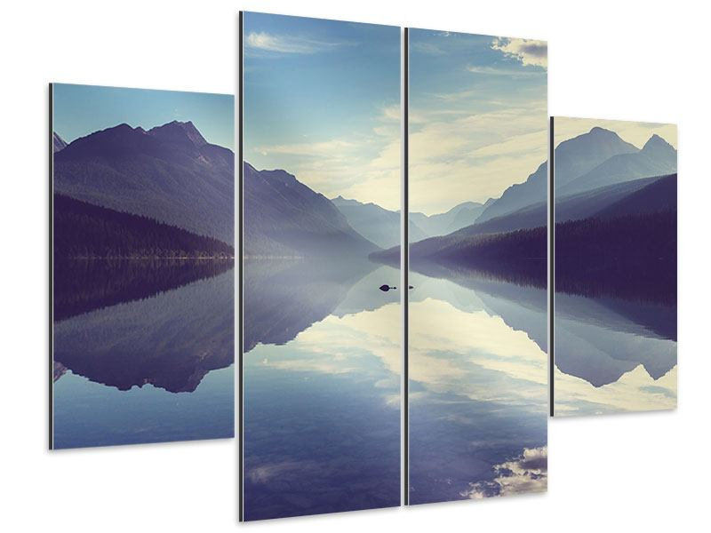 Aluminiumbild 4-teilig Bergspiegelung