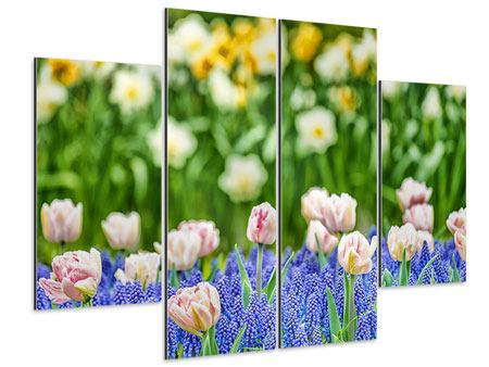 Aluminiumbild 4-teilig Ein Garten mit Tulpen