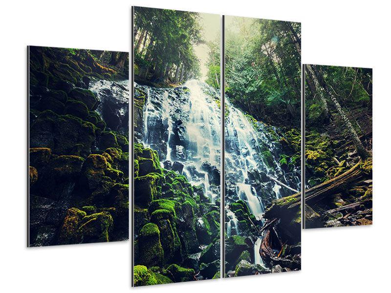 Aluminiumbild 4-teilig Feng Shui & Wasserfall