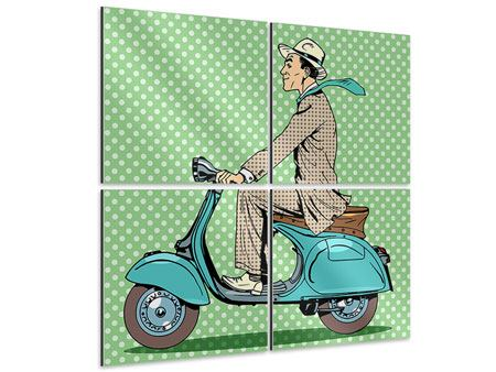 Aluminiumbild 4-teilig Pop Art Vespafahrer
