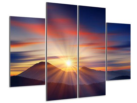 Aluminiumbild 4-teilig Märchenhafte Landschaft