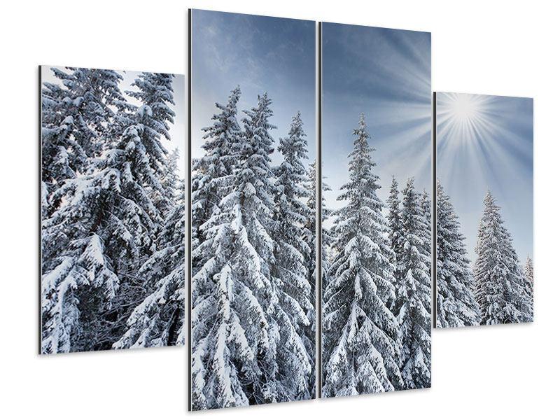 Aluminiumbild 4-teilig Wintertannen