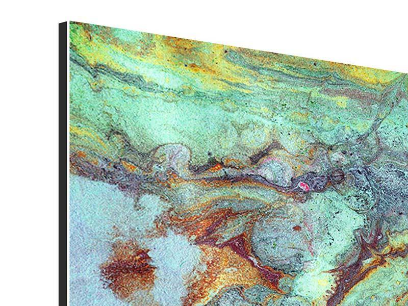 Aluminiumbild 4-teilig Marmor in Grün