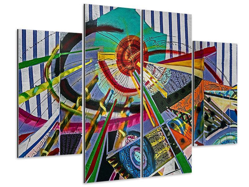 Aluminiumbild 4-teilig Künstlerisches Graffiti