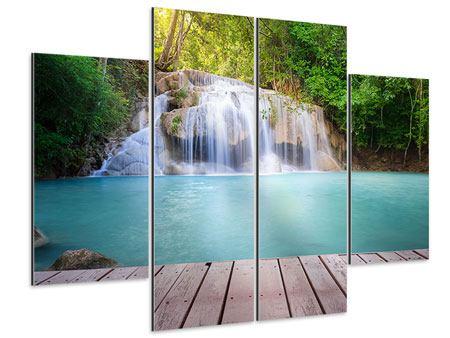 Aluminiumbild 4-teilig Terrasse am Wasserfall