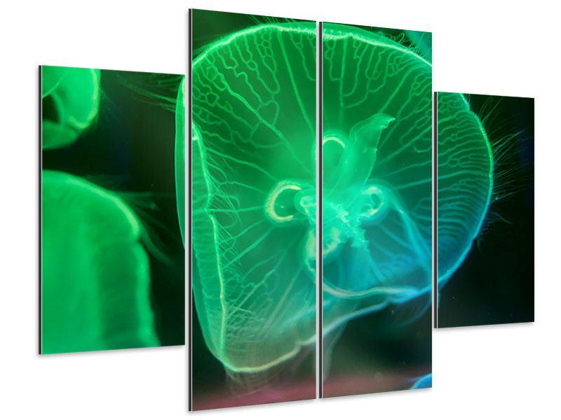 Aluminiumbild 4-teilig Quallen im Licht