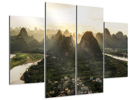 Aluminiumbild 4-teilig Die Berge von Xingping