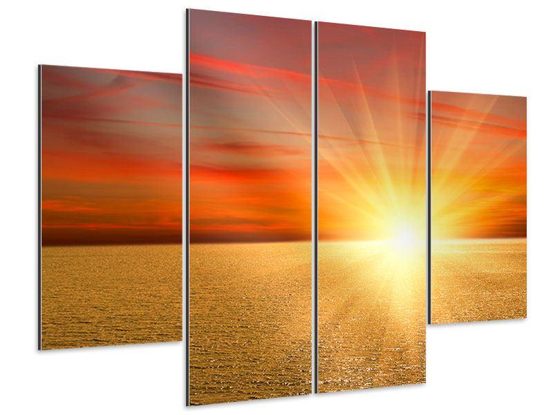 Aluminiumbild 4-teilig Der Sonnenuntergang