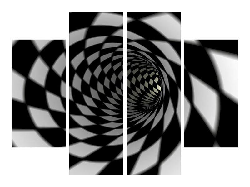 Aluminiumbild 4-teilig Abstrakter Tunnel Black & White