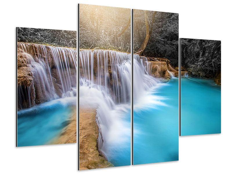 Aluminiumbild 4-teilig Glücklicher Wasserfall