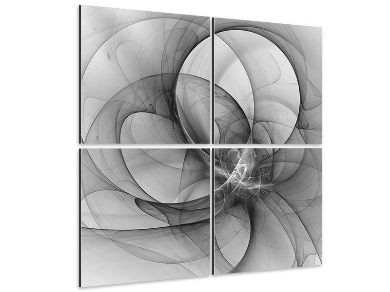 Aluminiumbild 4-teilig Abstrakte Kreisende Kreise
