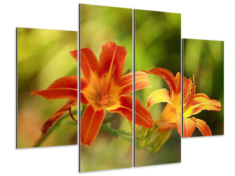 Aluminiumbild 4-teilig Natural Lilien