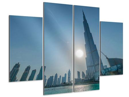Aluminiumbild 4-teilig Wolkenkratzer-Architektur Dubai