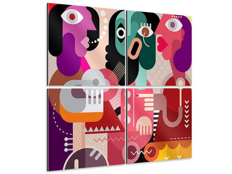Aluminiumbild 4-teilig Moderne Kunst Frauen