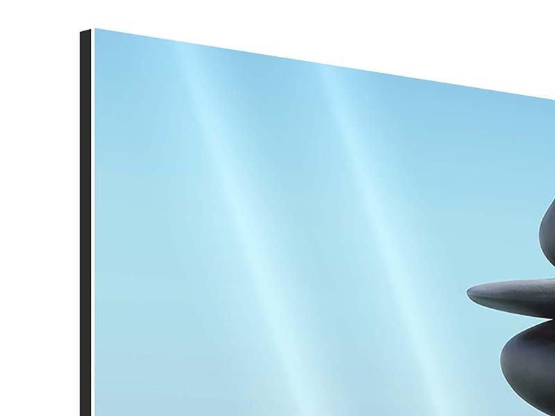Aluminiumbild 4-teilig Zen Steine