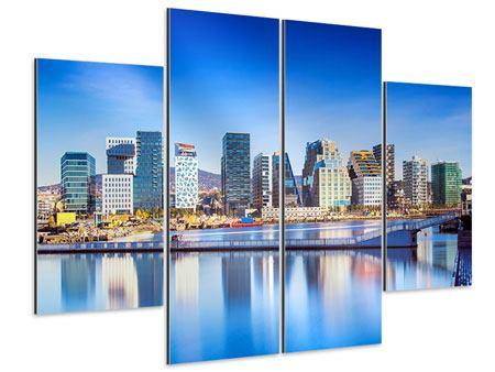 Aluminiumbild 4-teilig Skyline Oslo