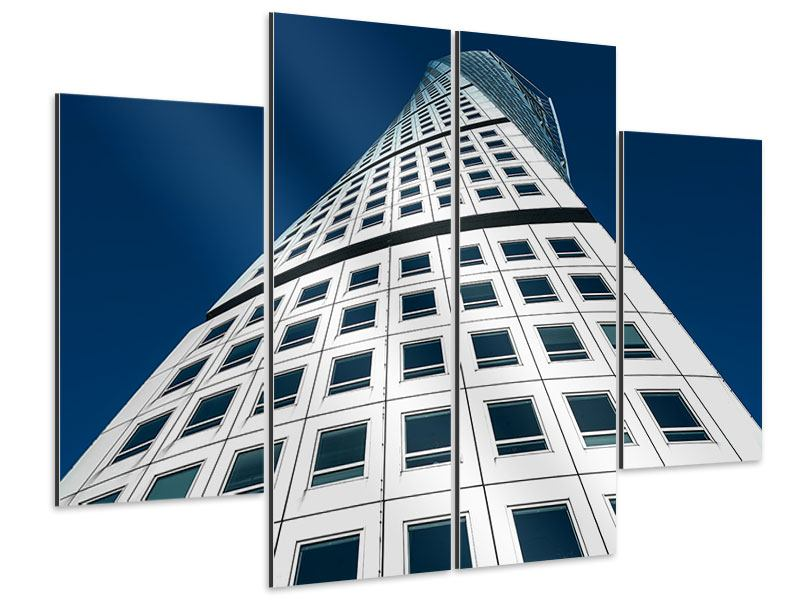 Aluminiumbild 4-teilig Meisterstück Wolkenkratzer