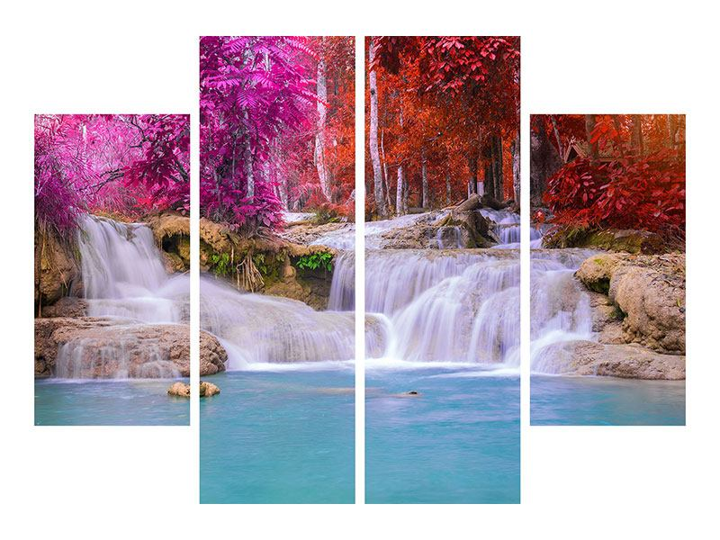 Aluminiumbild 4-teilig Paradiesischer Wasserfall