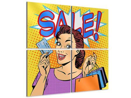 Aluminiumbild 4-teilig Pop Art Sale