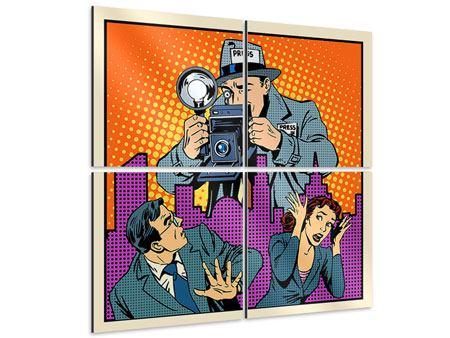 Aluminiumbild 4-teilig Pop Art Paparazzi