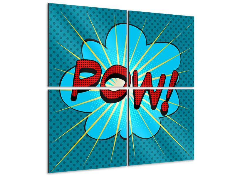 Aluminiumbild 4-teilig Pop Art Pow