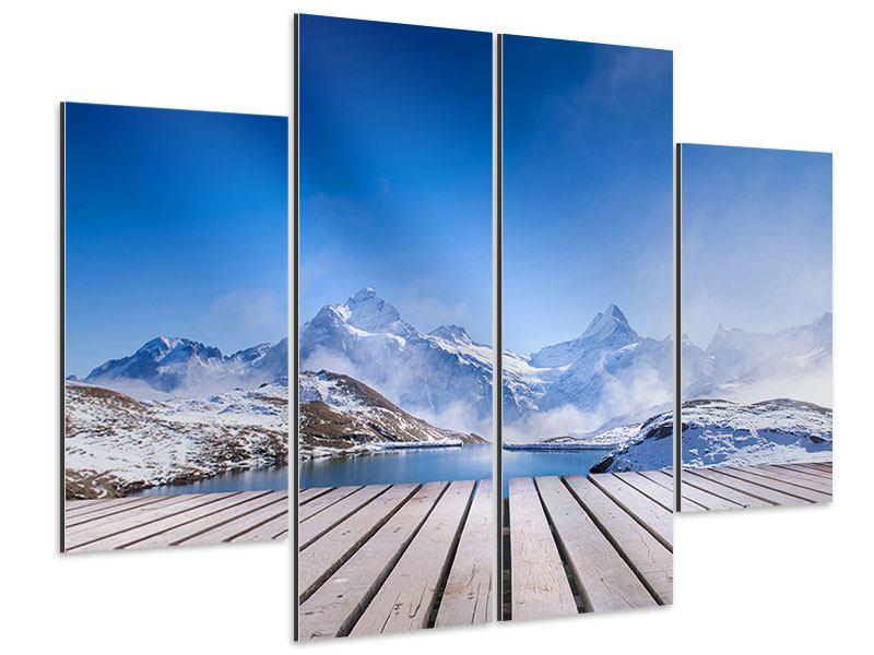 Aluminiumbild 4-teilig Sonnenterrasse am Schweizer Bergsee