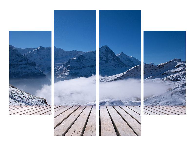 Aluminiumbild 4-teilig Sonnenterrasse in den Schweizer Alpen